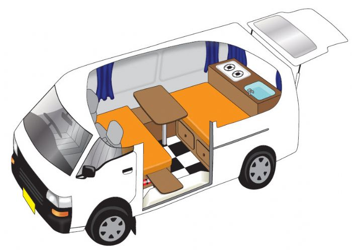 Drawing of the inside of one of our ex-hire used small campervan for sale