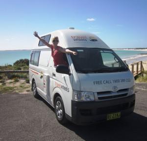 Melbourne Sydney Campervan Hire - Sara enjoying her campervan holiday