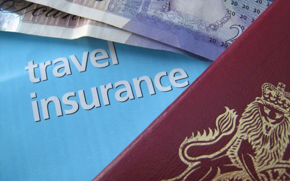 Photo of travel insurance document and passport