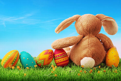Easter Bunny guarding his eggs whilst thinking about Easter Campervan Hire