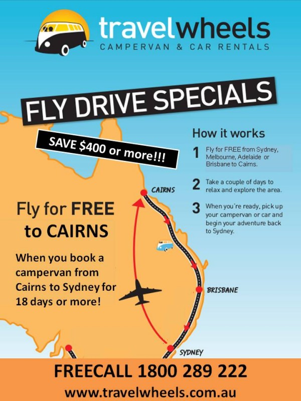 One Free flight with Fly Drive Cairns Sydney Campervan Hire package!