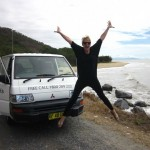 Jumping for joy in a campervan