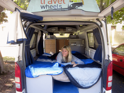Lovely Sara in bed in the back of our Campervan Hire Australia van