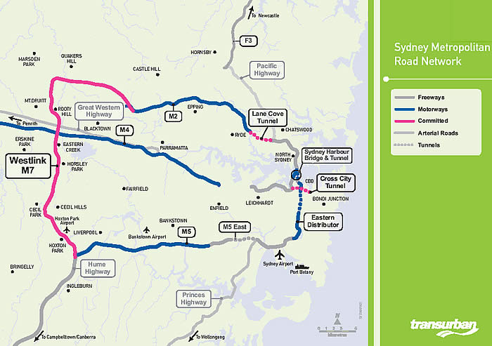 Toll Roads in Sydney Map of toll bridges and roads