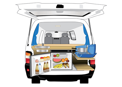 passengercampervanwithkitchen,fridgeandgasburnercooking