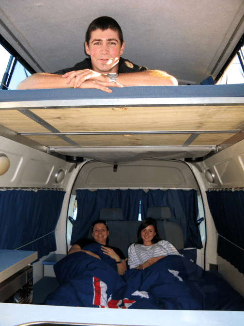 Photo showing two double beds in this Automatic campervan hire