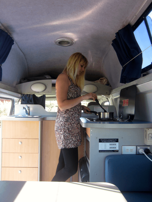 Kitche area inside a Toyota Hiace Campervan for sale
