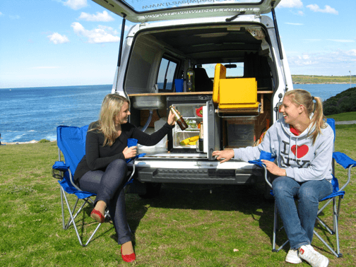 Sydney Campervan Hire with 55L fridge and great kitchen