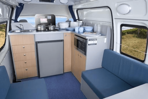 View of the kitchen in this campervan