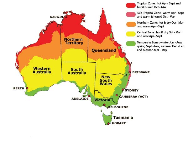 Weather in Australia Map showing the seasons
