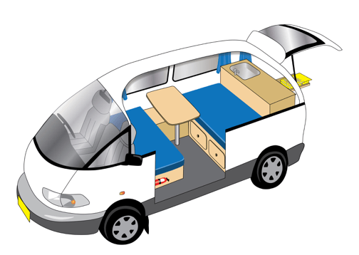 2 Person campervan hire - drawing of the inside the back of the campervan
