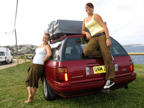 Photo of two girls who bought a station wagon after asking about advice if they should Rent or Buy used car for sale in Sydney
