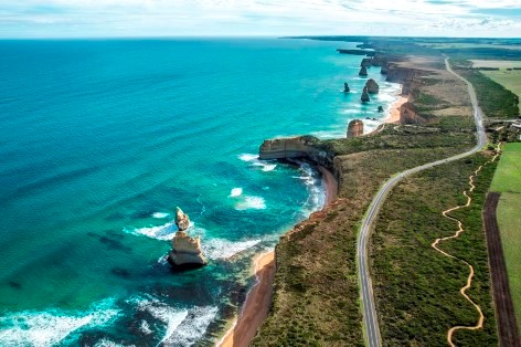 Bird-eye view from a helicopter ride over the Twelve Apostles from the Great Ocean Road campervan roadtrip