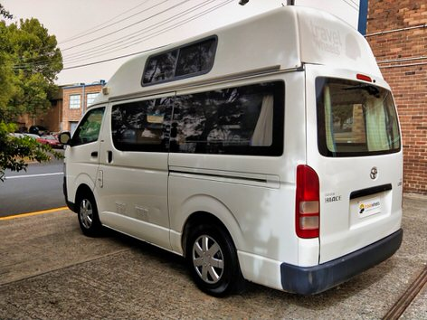 Toyota hiace campervans for sale in nsw rear view of the camper