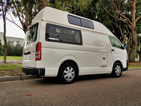 Toyota Hiace hitop campervans for sale - side view