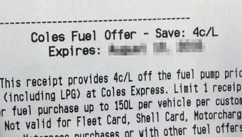 coles supermarket save fuel discount coupon receipt