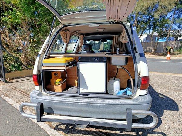 Kitchen area of used Toyota Taroago campervan