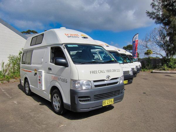 Used campervans for sale on display in Sydney