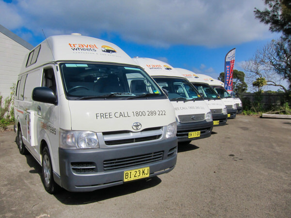 Row of used Toyota Hiace Campervans for sale at our depot in Sydney