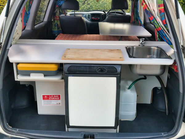 Toyota campervan for sale with 35L fridge in the kitchen