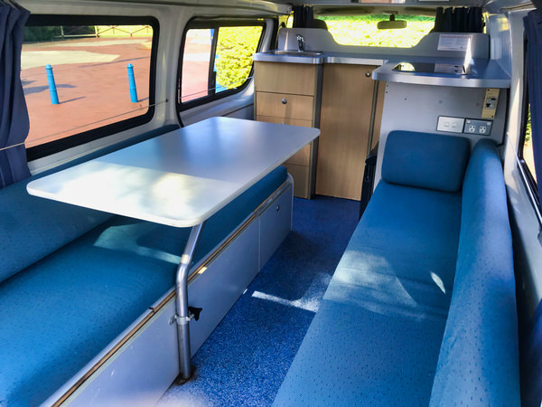 Toyota Hiace Campervan for sale - view from comfortable lounge area