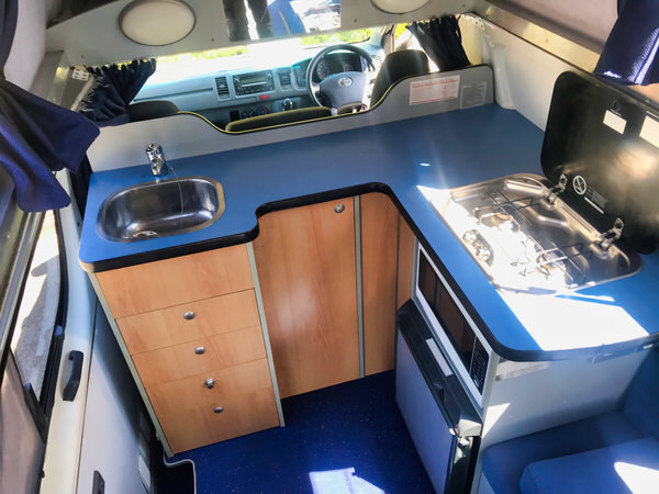 Toyota-Hiace Campervan - view of the open plan kitchen