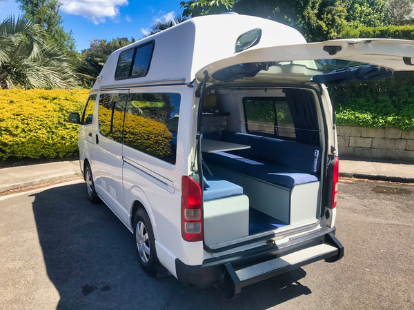 Toyota Hiace Campervan for Sale - rear door open looking into lounge area
