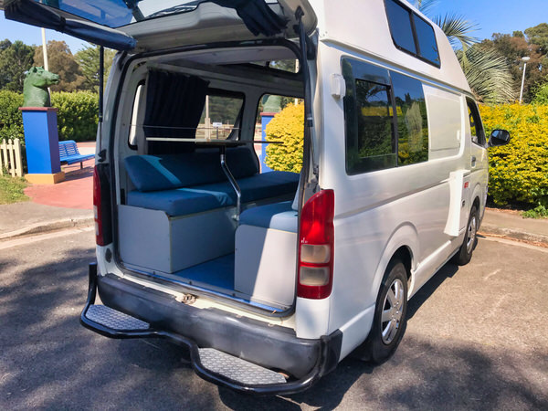 Toyota-Hiace Campervan for sale - rear tailgate opened to the lounge