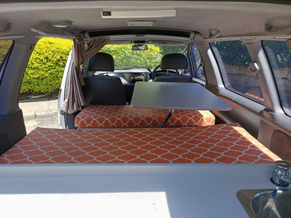 Toyota 2 Person automatic campervan lounge area