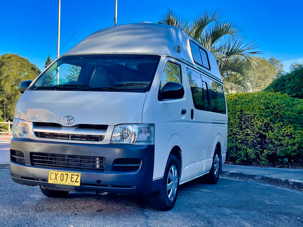 Used ex-hire Toyota Campervans for sale in Sydney - front passenger side view