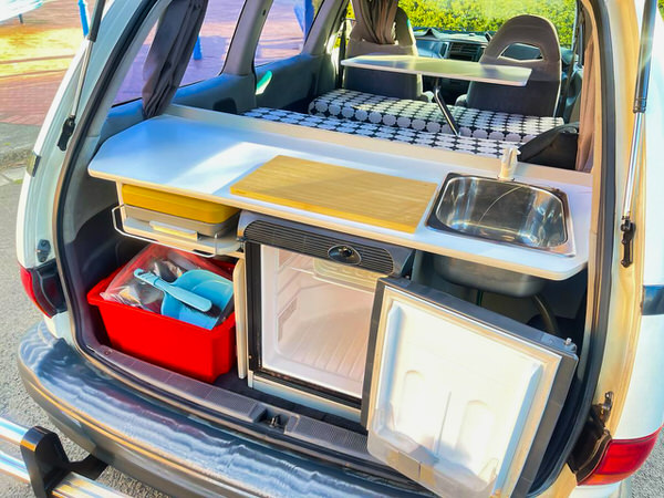Toyota 2 person campervan with full kitchen layout